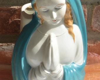 Madonna Large Planter - Hand Painted, Japan, Vivid Blue, Delicate Features - Vintage - Fabulous!
