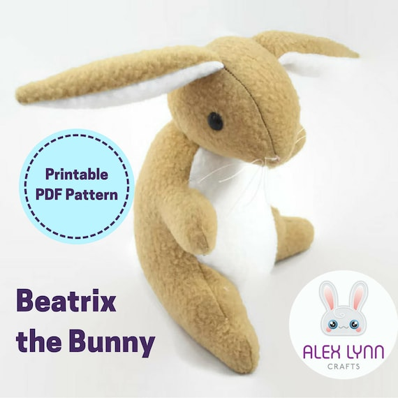 Bunny Plush Sewing Pattern Beatrix the Bunny Upright