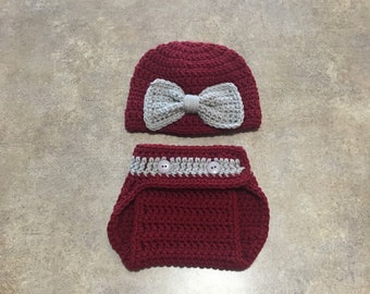 Scarlet and Gray Diaper Cover Set