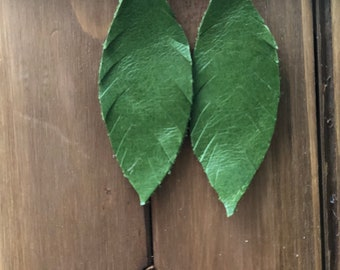 Handmade Green Feathered Leather Drop Earrings by Firefly Chic