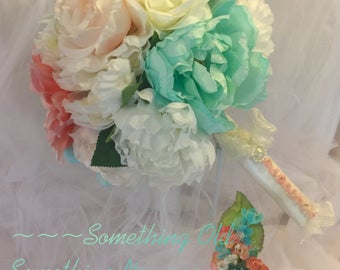 Colorful Pastel Bridal Bouquet with Matching Bouttoniere