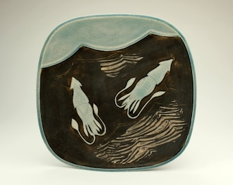Squid Pair- large square plate- Ruchika Madan