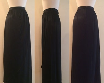 Vintage 1940s Style Black Satin Faux Wrap Maxi Skirt with Back Zipper 1980s