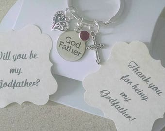 Godfather Gift, Godfather Keychain, Will You Be My Godfather, Thank You For Being My Godfather, Charm is size of a Nickle