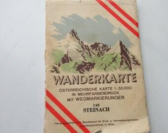 1960 Vintage Map of Steinach, Austria
