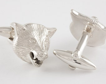 Wolf Cufflinks, Sterling Silver, personalized