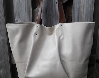 Large /Creme Faux Leather Tote w/ Brown Leather Straps