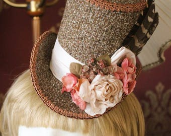 Spring Romance, Mini Top Hat - Handmade - One of a Kind - Steampunk - Vintage - Flowers