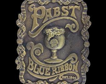 Vintage 1970s NOS Pabst Blue Ribbon PBR Established 1844 Booze Beer Bar Belt Buckle