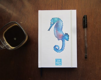White Book for writing and drawing with watercolor Seahorse/personal diary or drawing Notebook