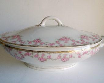 Bridal Wreath Covered Casserole Dish Oval Soup Tureen  Austria HUB Fine Porcelain Bridal Rose 1920's