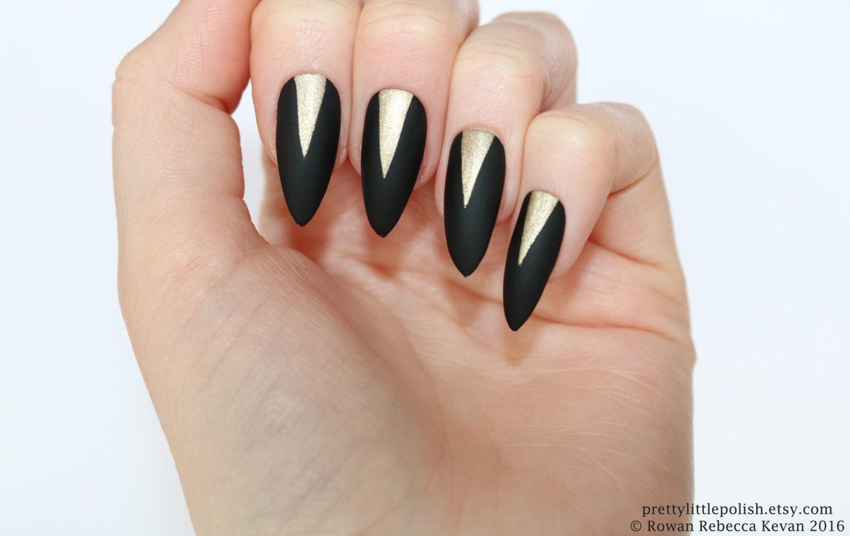 Matte black gold stiletto nails, Nail designs, Nail art, Nails ...