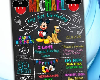 Mickey Mouse Chalkboard Sign, Digital First Birthday Chalkboard Poster, Mickey Mouse Birthday Chalkboard Poster, Birthday Poster