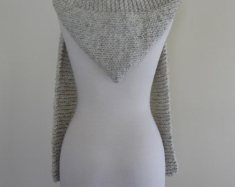 Hooded Scarf Chunky Knit Scoodie Teen Adult Warm Hooded Scarf - Wheat - Ready to Ship - Direct Checkout - Gift for Her