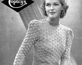 BESTWAY 571 Vintage Knitting Pattern 1940s like tiny bunches of grapes DIGITAL DOWNLOAD