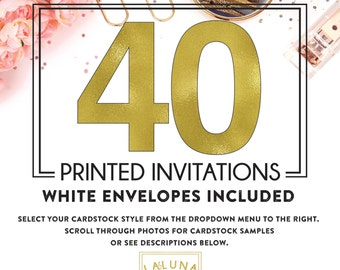 Set of 40 printed invitations / cards