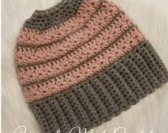 Star-stitch Messy Bun Hat