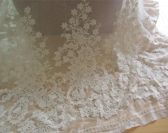 Ivory silk lace,Embroidery silk fabric,crinkle silk chiffon lace fabric in Ivory white,wedding dress fabric-ZSME0015