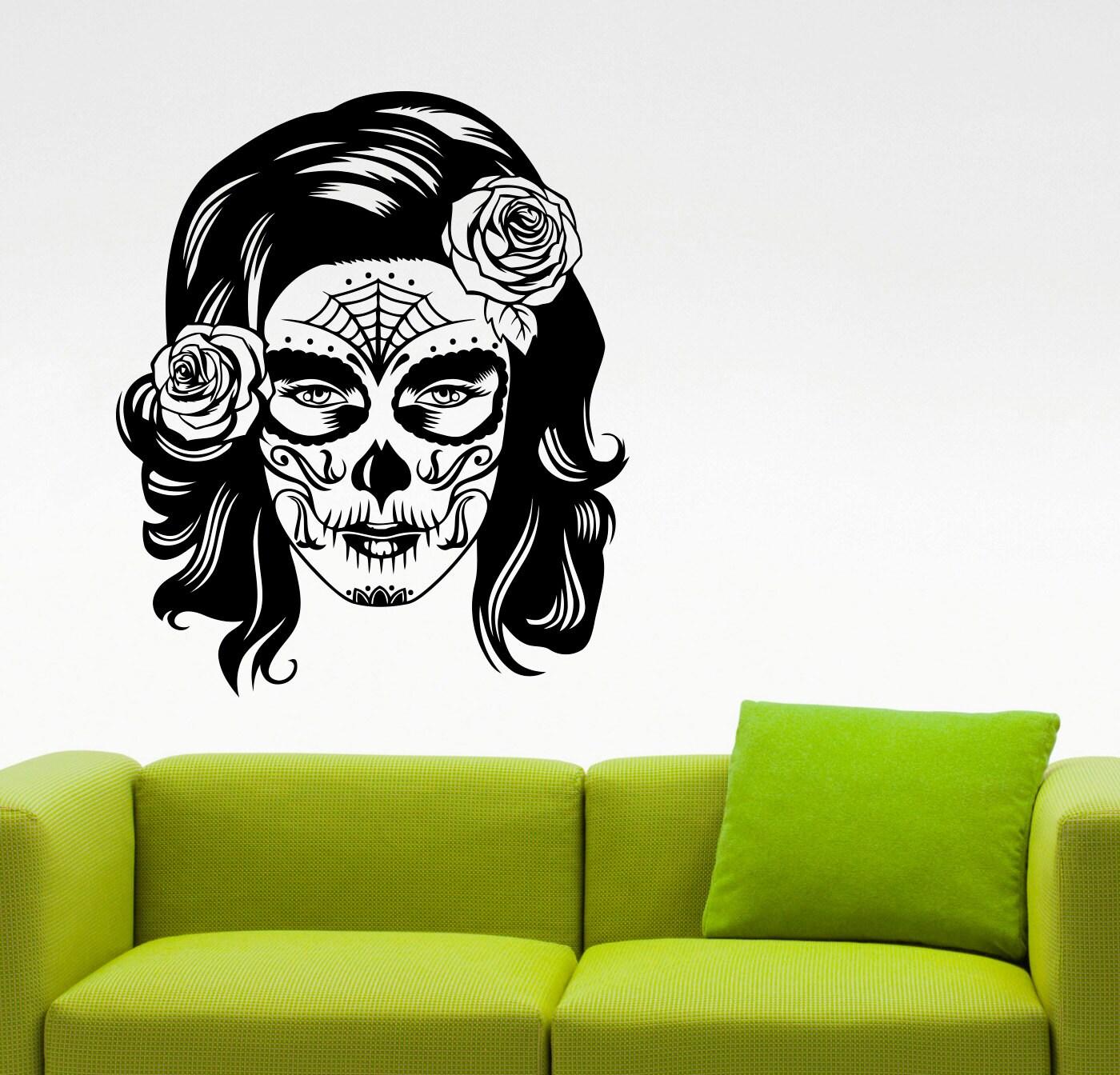 Salón de belleza de azúcar cráneo mujer cara pared calcomanía