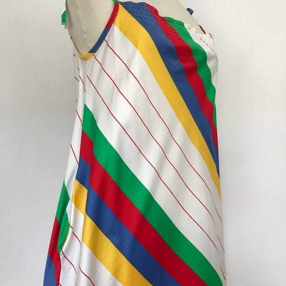 vintage dress cotton dress, rainbow striped, stripey print, tie shoulder straps, 1970s dress, fenno sport,  bright sundress, trapeze, M
