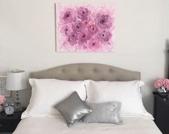 "Original Glitter and Acrylic Abstract Floral Painting on Canvas, Purple, Pink, Black, 24""x30"", Abstract Ranunculus, Medium Impasto Painting"