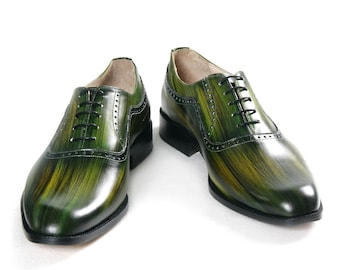Leather man shoes, wooden green, jungle green, Oxford, hand painted (made in Italy)