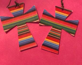 Serape print cross earrings