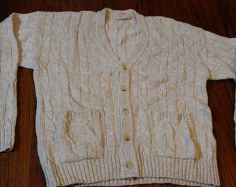 Vintage L.L. Bean Men Cable Knit Cardigan Sweater Sz M Cream