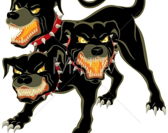 Cerberus - Vector Illustration. dog, monster, evil, guardian, guard dog, creature, character, canine, fairy tale, Greek, mythology, fantasy