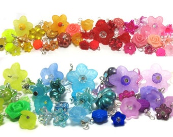 Flower Charms Grab Bag - 25 Mixed Colors & Styles - Rainbow of Colors -Pretty Flowers -Bead Dangles for DIY Bracelets Jewelry -Adorabilities