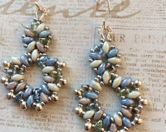 Beachy Blue Beaded Earrings