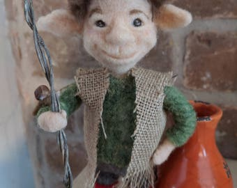 Needle Felted Woodland Elf - Art Doll