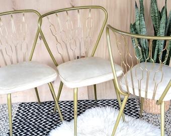 Vintage Dining Chair, Brass, Retro, Midcentury, Mcm, Vinyl
