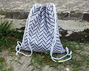 Blue Drawstring Backpack  Small sports purse Waterproof Zigzag