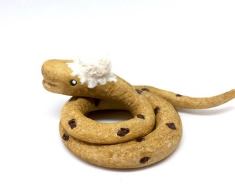 COOKIE SNAKE FIGURINE - Novelty Snake sculpture, figurine, totem, cake topper - Unique clay animal figure!