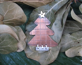 copper, brass, sterling silver christmas tree ornament