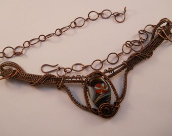 Copper wire &  multi color swirled red, green and ivory lampwork tab bead bib necklace with handmade chain