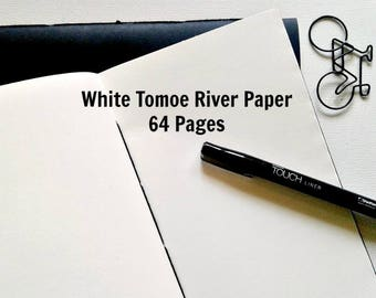WHITE TOMOE RIVER Paper - Traveler's Notebook Insert, Fountain Pen Friendly, Fauxdori Insert, Midori Insert, Calligraphy Notebook - N272