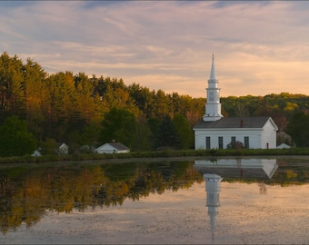 Evening on a Farm - Country Church - Historical Hale Farm in Ohio - Photo Print Nature Photography (HF04)