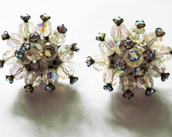 Vintage Rhinestone Cluster Earrings Clip ons
