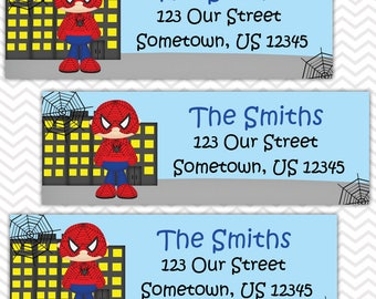 Spiderman - Superhero - Personalized Address labels, Stickers, Baby Shower, Birthday