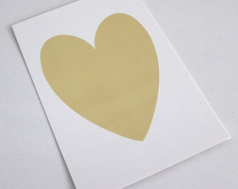 Yellow Shimmer Heart on White Shimmer background - PRINT 5x7