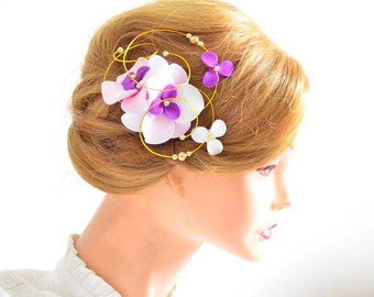 Pale pink and purple hair clip Floral fascinator Bridesmaids hair clip  Wedding headpiece Bridal hair piece