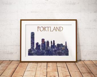 Portland Print, Portland Poster, Portland skyline, Portland cityscape, Portland Oregon, Painting, City Art Print, Home Decor, Giclee Print