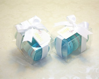 Turquoise Blue Ombre Favor Boxes - Set of 12, Blue Wedding Favors, Blue and White Bridal Favors
