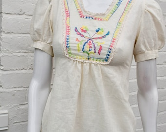 """Vintage Mid century 1940s Style Embroidered Peasant Blouse sz36"""""""