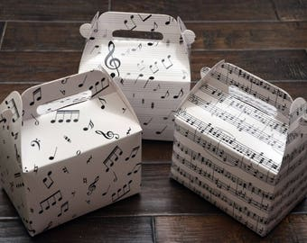 16 Assorted Musical Notes / Music Themed Favor Boxes / Treat Boxes / Gift Boxes