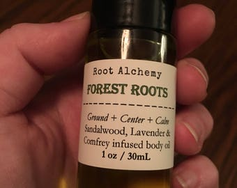 Forest Roots Body Oil and Essential Oil Roll On Herbal Oil Calm and Ground Aromatherapeutic Blend