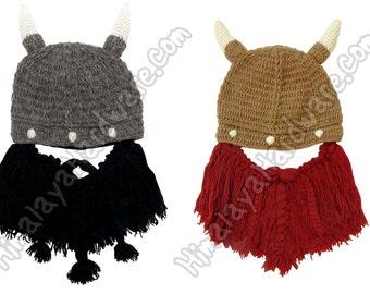 Knit Wool Viking Beard Hat: adjustable removable ski mask horns cap black brown red