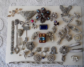 Destash Vintage Jewelry Lot, Rhinestones and More for Creating Crafts